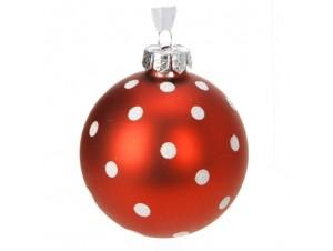 Κόκκινη Γυάλινη Χριστουγεννιάτικη Μπάλα με σχέδιο