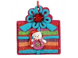 Χριστουγεννιάτικο στολίδι δωράκι-χιονάνθρωπος