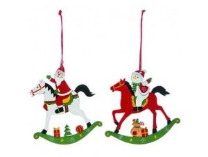 Σετ 2 τεμ. Χριστουγεννιάτικο ξύλινο στολίδι αλογάκια