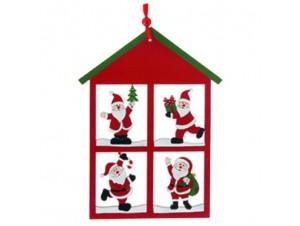 Χριστουγεννιάτικο ξύλινο στολίδι σπιτάκι με φιγούρες