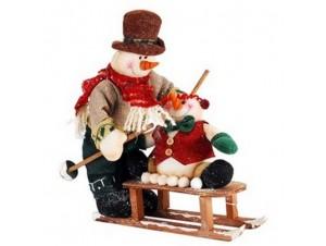 Χριστουγεννιάτικο διακοσμητικό Χιονάνθρωπος με έλκυθρο