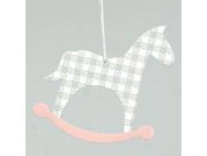 Χριστουγεννιάτικο ξύλινο στολίδι κουνιστό αλογάκι