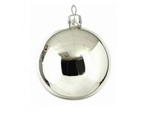 Ασημί Χριστουγεννιάτικη Γυάλινη Μπάλα 11694