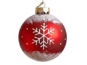 Κόκκινη Χριστουγεννιάτικη Γυάλινη Μπάλα με σχέδιο