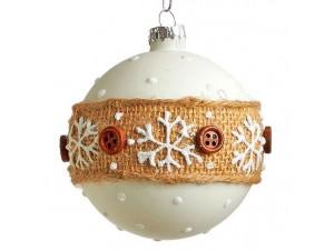 Άσπρη Χριστουγεννιάτικη γυάλινη μπάλα με σχέδια