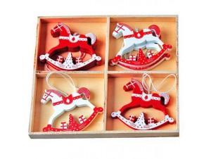 Σετ 8 τεμ. Χριστουγεννιάτικο ξύλινο διακοσμητικό
