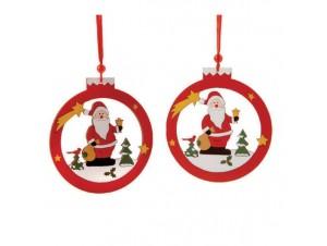 Σετ 2 τεμ Χριστουγεννιάτικο ξύλινο στολίδι με Άγιο Βασίλη