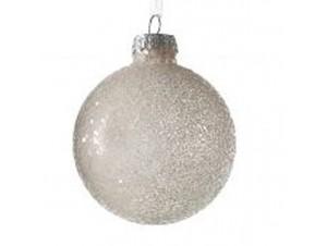 Γυάλινη Χριστουγεννιάτικη Μπάλα Λευκή