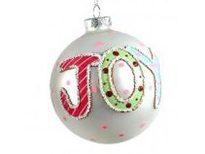 Χριστουγεννιάτικη γυάλινη μπάλα λευκή