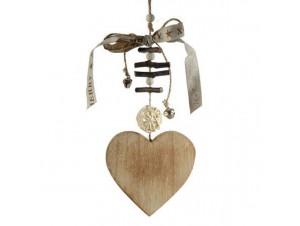 Χριστουγεννιάτικο ξύλινο στολίδι καρδιά