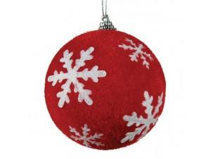 Κόκκινη Χριστουγεννιάτικη Μπάλα με νιφάδες