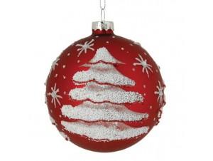 Κόκκινη Χριστουγεννιάτικη Μπάλα γυάλινη