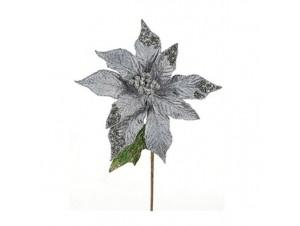 Χριστουγεννιάτικο Λουλούδι διακόσμησης Ασημί 40 εκ