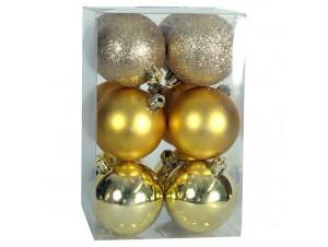 Set 12 τμχ. Χρυσή Χριστουγεννιάτικη Μπάλα 6 εκ