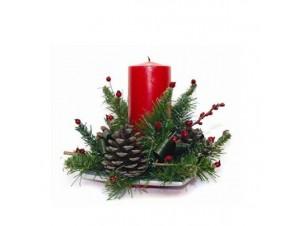 Χριστουγεννιάτικη σύνθεση κηροπήγιο