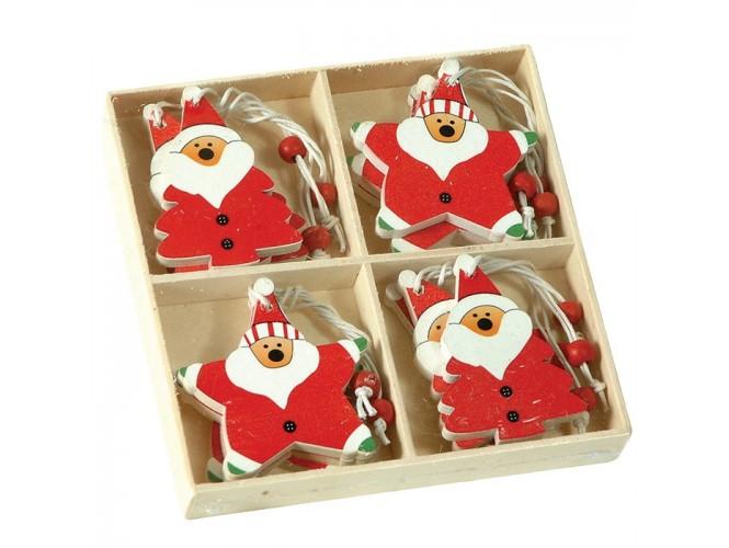 Σετ Χριστουγεννιάτικα ξύλινα στολίδια
