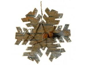 Χριστουγεννιάτικο Ξύλινο Στολίδι Νιφάδα