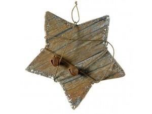 Χριστουγεννιάτικο Ξύλινο Στολίδι Αστέρι