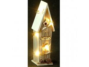 Χριστουγεννιάτικο ξύλινο σπιτάκι φωτιζόμενο