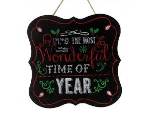 Χριστουγεννιάτικος Κρεμαστός Ξύλινος Μαυροπίνακας