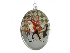 Χριστουγεννιάτικη Μπάλα Γυάλινη πλακέ