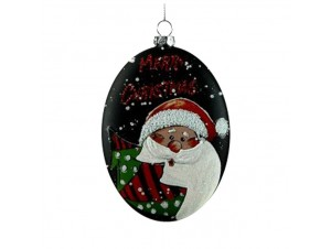 Χριστουγεννιάτικη Μπάλα Γυάλινη οβάλ πλακέ