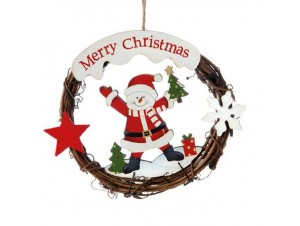 Χριστουγεννιάτικο Στολίδι Ξύλινο Στεφανάκι