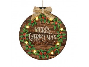 Χριστουγεννιάτικη Διακοσμητική Ταμπέλα Κρεμαστή με Led