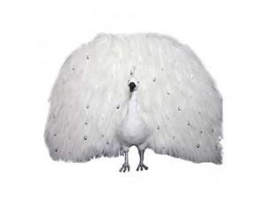 Χριστουγεννιάτικο Διακοσμητικό Βιτρίνας Λευκό Παγώνι