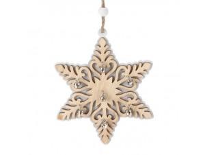 Χριστουγεννιάτικη Ξύλινη Οικολογική Νιφάδα 12,5 εκ