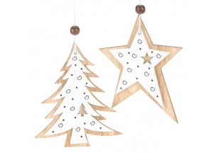 Σετ 2 τεμ. Χριστουγεννιάτικο Οικολογικό Ξύλινο Στολίδι 10 εκ