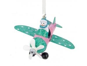 Χριστουγεννιάτικο Μεταλλικό στολίδι Αεροπλάνο 16 εκ.