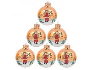 Σετ 4 τεμ. Χριστουγεννιάτικη Μπάλα Γυάλινη 8 εκ