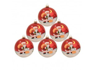 Σετ 2 τεμ. Χριστουγεννιάτικη Μπάλα Γυάλινη 10 εκ