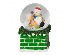 Χριστουγεννιάτικη Χιονόμπαλα Καμινάδα με Χιονάνθρωπο