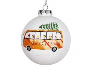 Χριστουγεννιάτικη Μπάλα Γυάλινη με λεωφορείο 9 εκ