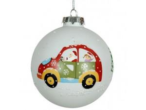 Χριστουγεννιάτικη Μπάλα Γυάλινη με αυτoκίνητο 9 εκ