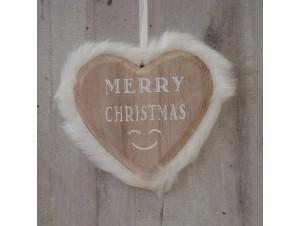 Χριστουγεννιάτικο Ξύλινο Στολίδι Καρδιά 23 εκ