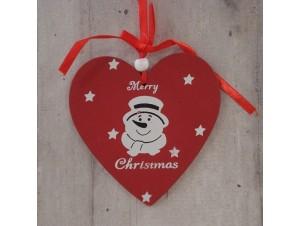 Χριστουγεννιάτικο Ξύλινο Στολίδι Καρδιά 21 εκ