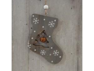 Χριστουγεννιάτικο Ξύλινο Οικολογικό Στολίδι Μπότα 12 εκ