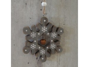 Χριστουγεννιάτικο Ξύλινο Οικολογικό Στολίδι Νιφάδα 20 εκ
