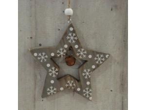 Χριστουγεννιάτικο Ξύλινο Οικολογικό Στολίδι Αστέρι 12 εκ