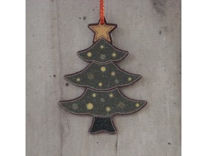 Χριστουγεννιάτικο Ξύλινο Στολίδι Δεντράκι 12 εκ διπλής όψης