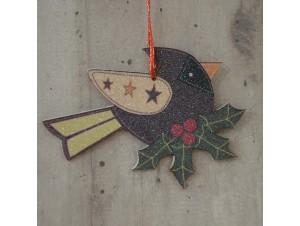 Χριστουγεννιάτικο Ξύλινο Στολίδι Πουλάκι 12 εκ διπλής όψης