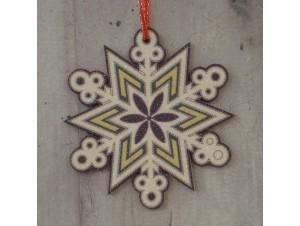 Χριστουγεννιάτικο Ξύλινο Στολίδι Νιφάδα 12 εκ διπλής όψης