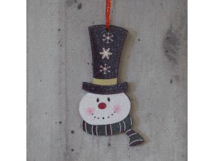 Χριστουγεννιάτικο Ξύλινο Στολίδι Χιονάνθρωπος 12 εκ