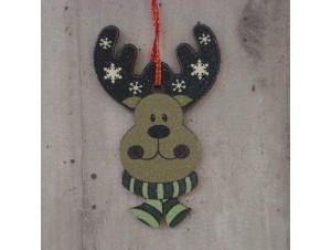 Χριστουγεννιάτικο Ξύλινο Στολίδι Τάρανδος 12 εκ.διπλής όψης