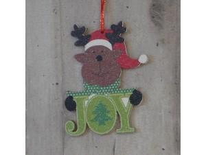 Χριστουγεννιάτικο στολίδι διπλής όψης Τάρανδος 12 εκ