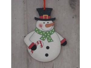 Χριστουγεννιάτικο Ξύλινο Στολίδι Χιονάνθρωπος 12εκ. διπλής όψης