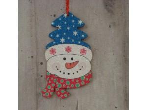 Χριστουγεννιάτικο στολίδι διπλής όψης Χιονάνθρωπος 12 εκ